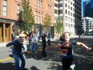 My friends, the spectators, at Mile 26 of the Hartford Marathon